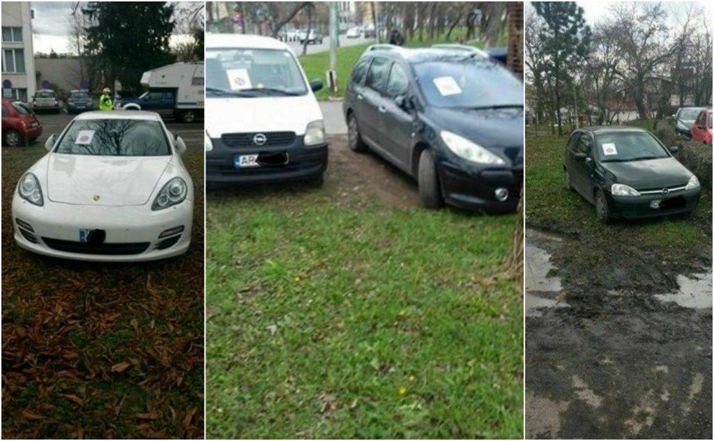 """Neciopliți, cu mașinile pe gazonul din Parcul Justiției din Timișoara! Parcarea îi """"costă"""" până la 1.000 de lei"""