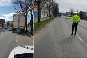 Zeci de conducători de autovehicule de mare tonaj sancționați de polițiștii locali