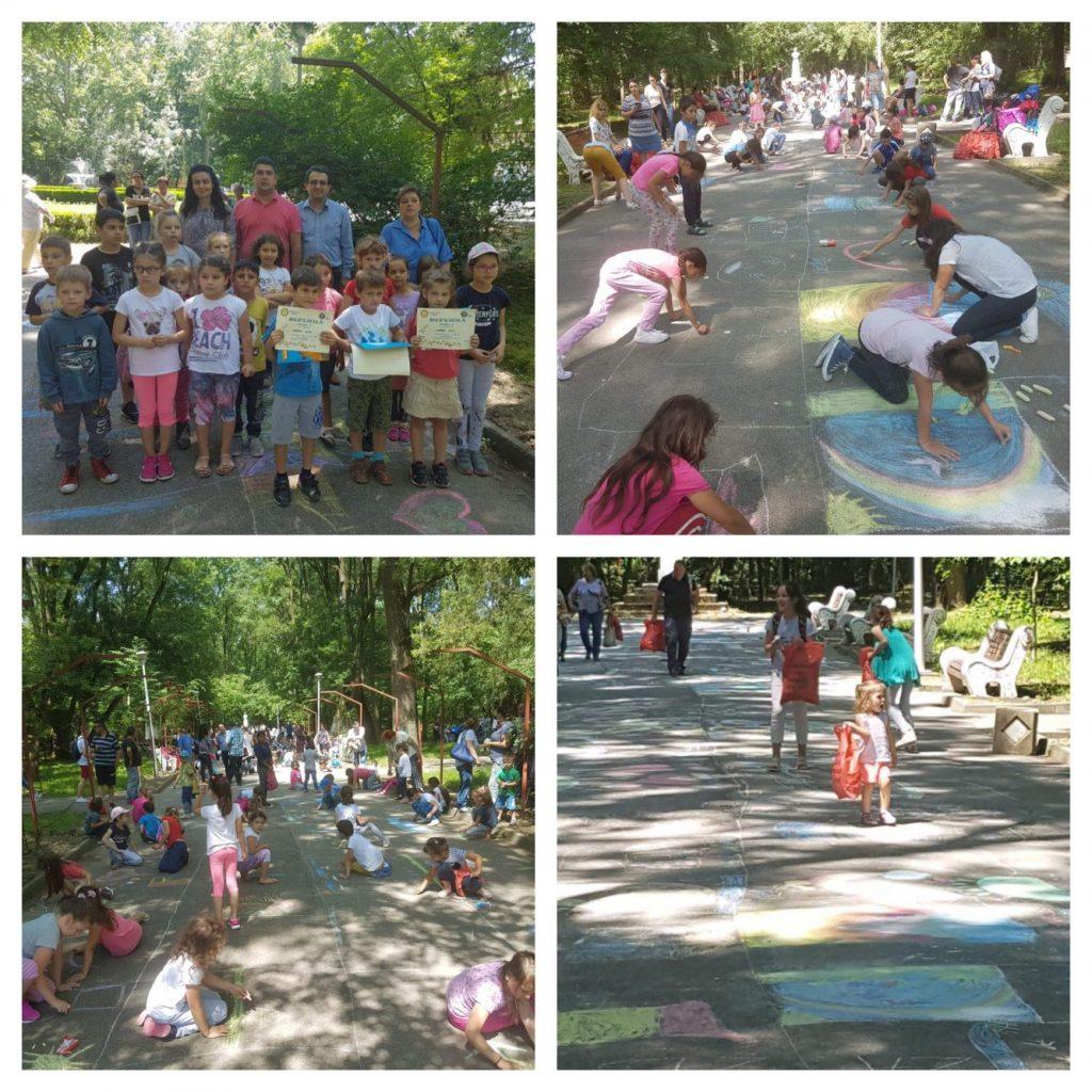 """Concursul """"Desene pe asfalt"""" a adus voia bună în Parcul din Buziaș"""