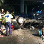 Doi morți și doi răniți în urma unui accident la Arad. Mașina a plonjat de la nouă metri înălțime