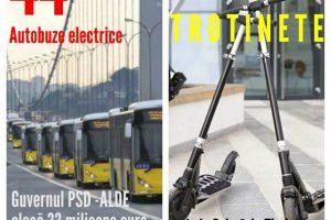 """PSD Timiș: """"44 autobuze electrice VS. 10 trotinete pentru Timişoara"""""""