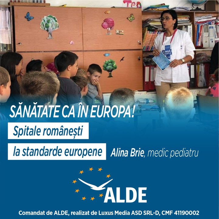 Dr. Alina Brie: ALDE va susține toate investițiile în sănătate pentru a ajunge la nivelul standardelor europene