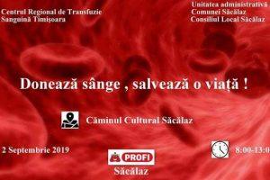 Localnicii din Săcălaz sunt chemaţi să doneze sânge