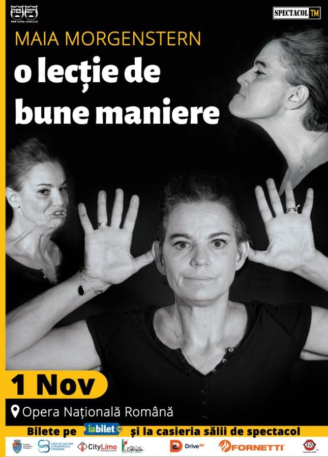 """Maia Morgenstern susține, în 1 noiembrie, la Timișoara, """"O lecție de bune maniere"""""""