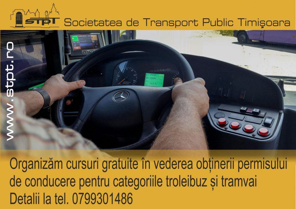 STPT organizează cursuri pentru permisul de troleibuz/tramvai. E gratis pentru cei care se angajează