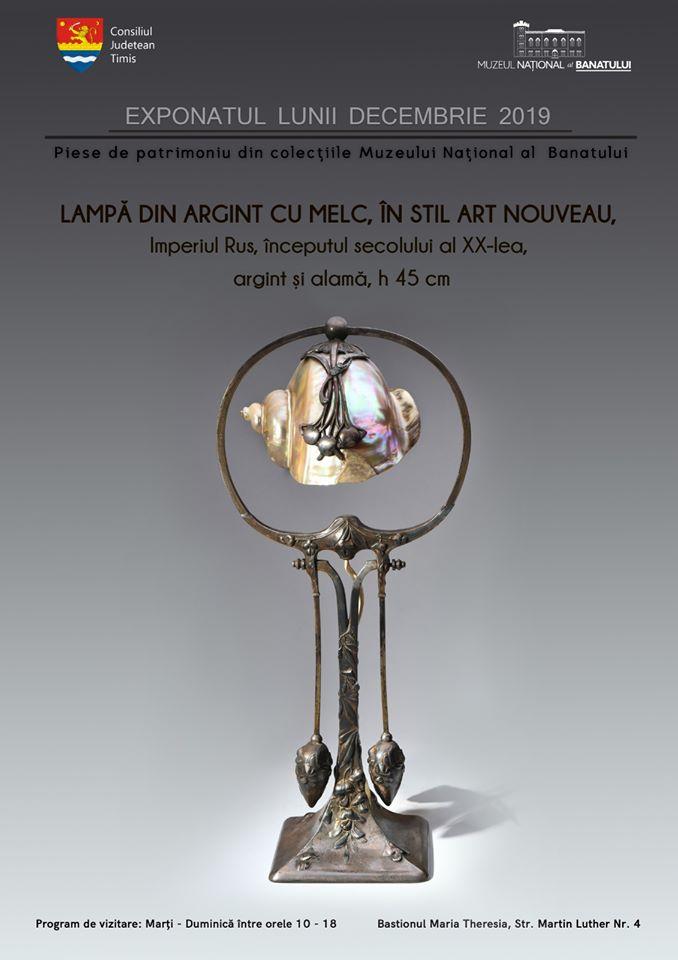 Lampă de birou cu melc în stil Art Nouveau, exponatul lunii la Muzeul Banatului