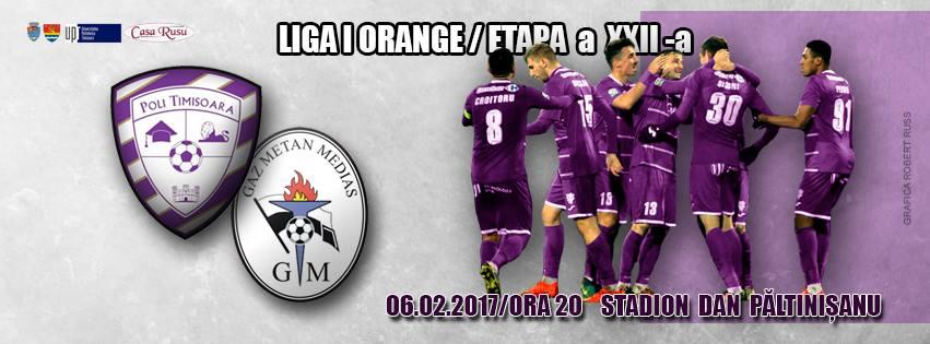Măsuri de asigurare a ordinii publice la meciul de fotbal  ASU Poli Timişoara – Gaz Metan Mediaş