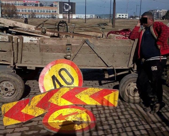 Prins în timp ce transporta cu căruța indicatoare rutiere sustrase de pe str. G. Musicescu