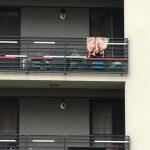 Cu mielul sacrificat, atârnat pe balustrada unei terase