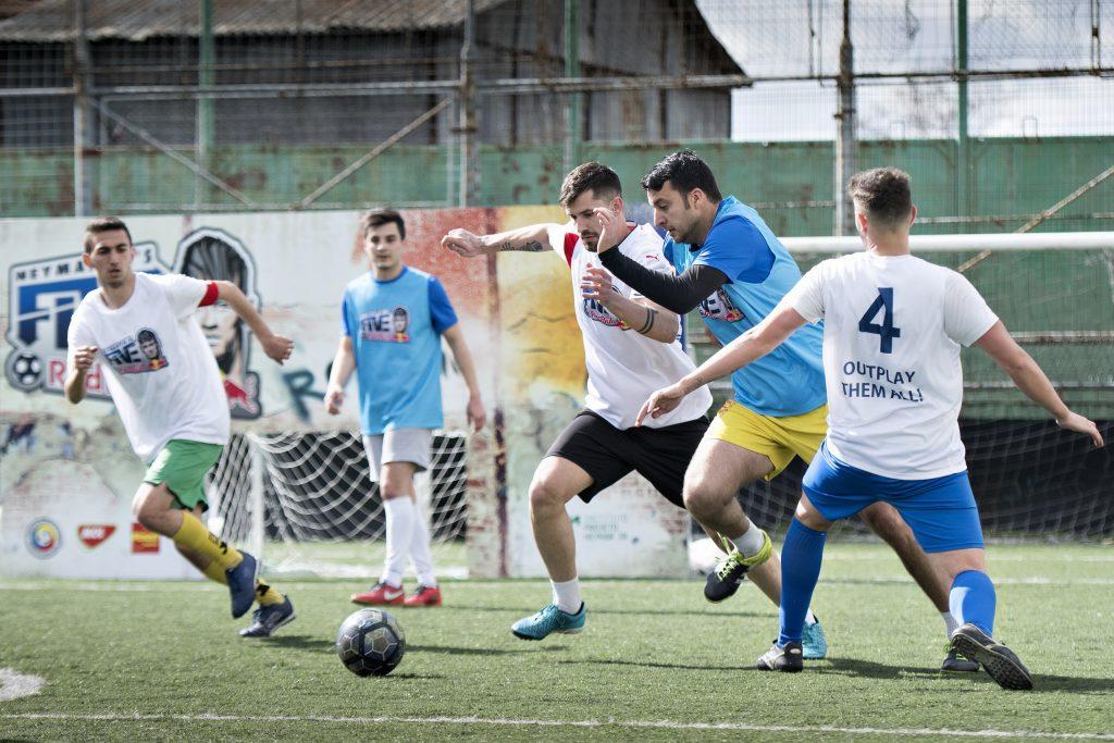 Participants perform during Neymar Jr's Five Qualifiers in Craiova, Romania on April 08, 2017
