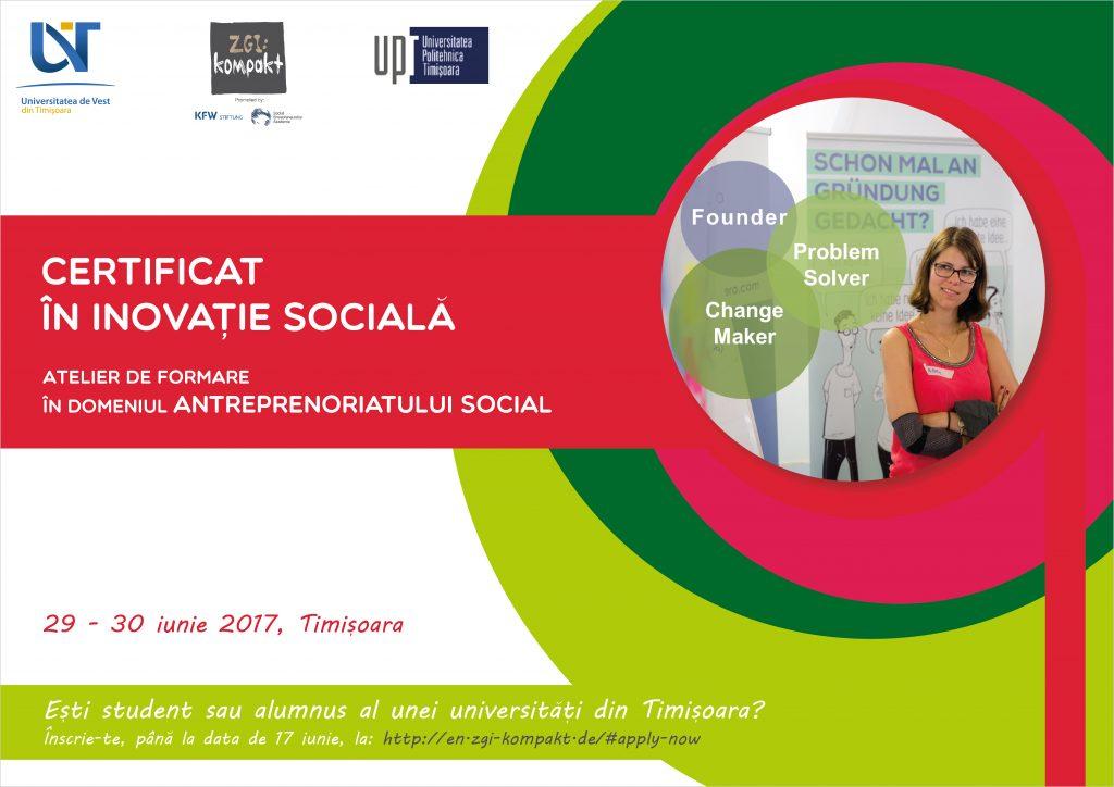 """""""Certificatul în inovație socială"""" îi îndrumă pe studenții timișoreni spre antreprenoriatul social"""