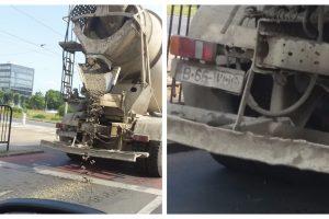 """Un șofer INCONȘTIENT și-a pierdut """"marfa"""" din autobetonieră, în girația de la AEM (FOTO)"""
