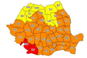 Codul roșu a fost prelungit și restrâns la două județe. Restul țării rămâne sub atenționări meteo