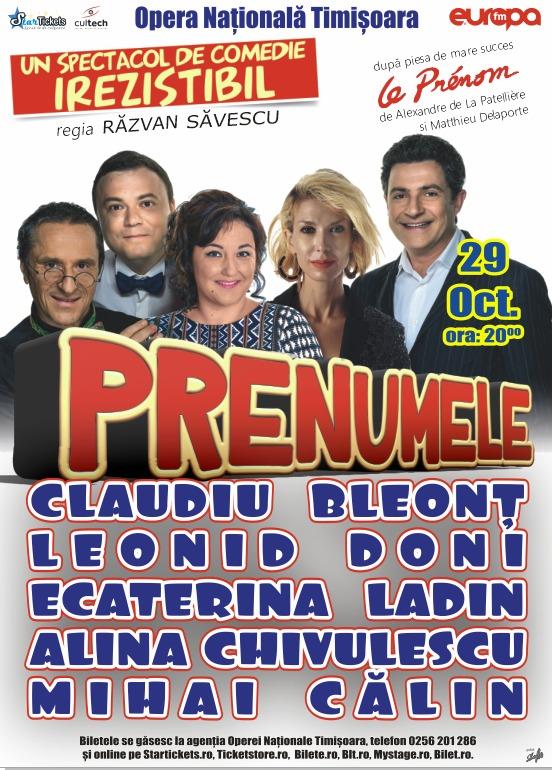 Prenumele: comedie franceză cu vedete de Bucureşti, la Timişoara