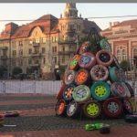 """Foto: """"Pădure"""" de brazi ecologici în Piaţa Libertăţii"""