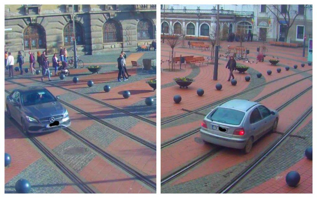 """Zeci de șoferi nesimțiți """"călăresc"""", lunar, pavajul Pieței Libertății din Timișoara. Nu scapă nimeni!"""