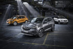Cool: Mokka X, Grandland X and Crossland X (from left) form the Opel X-family of sport utility vehicles and crossovers.