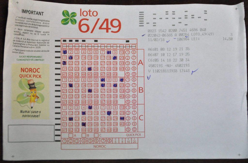 Așa arată un bilet cu care câștigi peste 2 milioane de euro, la Loto 6/49