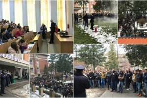 Studenți evacuați în timpul unui exercițiu al ISU Timiș