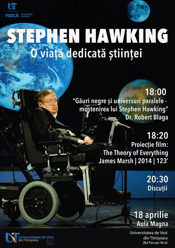 Stephen Hawking – O viață dedicată științei. Dezbatere și proiecție de film, la UVT