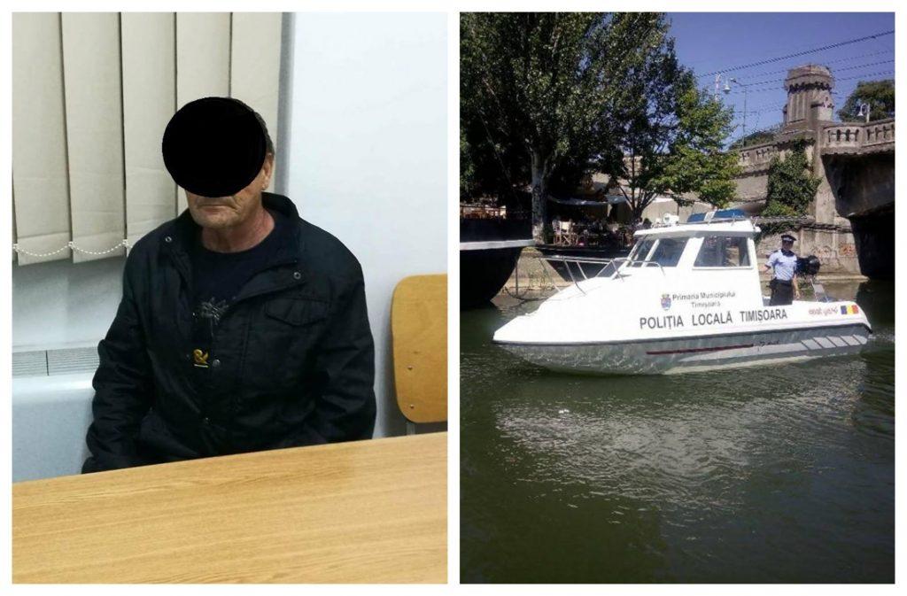 Bărbat de 71 de ani, dat dispărut de familie, descoperit de polițiștii locali care patrulează cu șalupa pe Bega