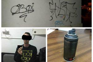 """Neamț, mai sărac cu 100 de euro după ce a lăsat """"autografe"""" cu spray pe pereții unui cămin studențesc"""