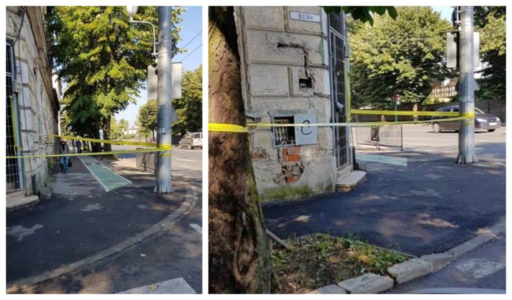 Nu rupeți banda de protecție amplasată de Poliția Locală în jurul clădirilor deteriorate