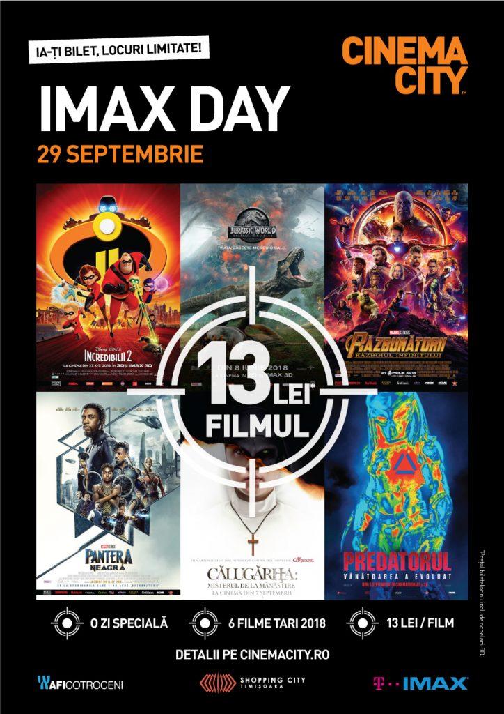 În 29 septembrie e IMAX Day! 13 lei biletul la un film