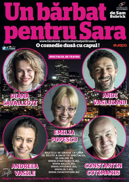 """""""Un bărbat pentru Sara"""", comedia dusă cu capul pe care publicul din Timişoara e invitat să o vadă"""