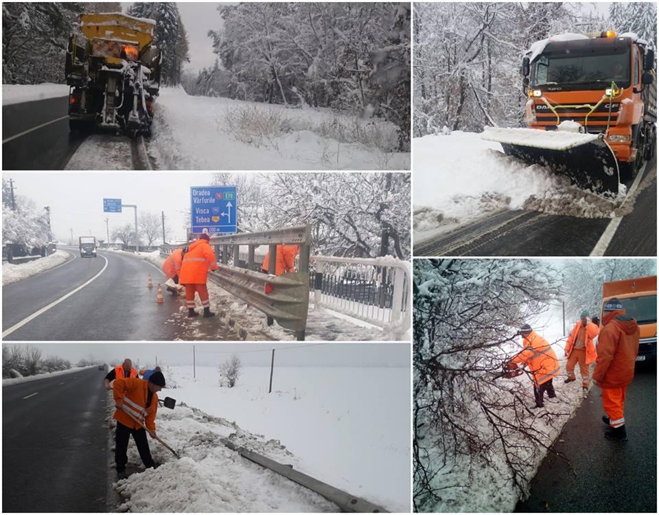 Circulați cu atenție! Ninge în unele zone din vestul ţării