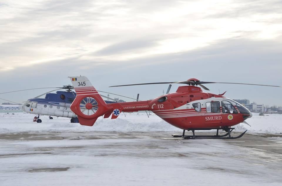 În Timiş a ajuns un elicopter de la IGSU pentru identificarea liniilor electrice defecte