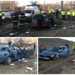 O maşină a căzut de pe un pasaj rutier din vestul țării