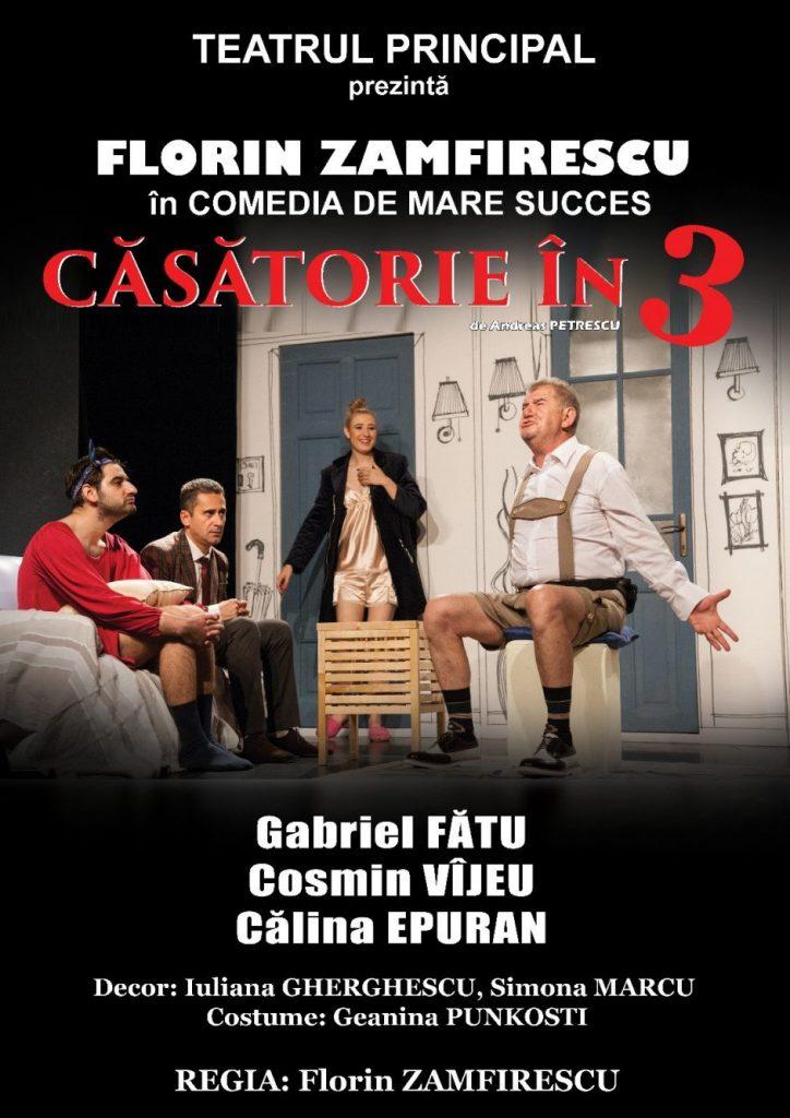 Căsătorie în trei: spectacol în premieră la Timişoara cu Florin Zamfirescu