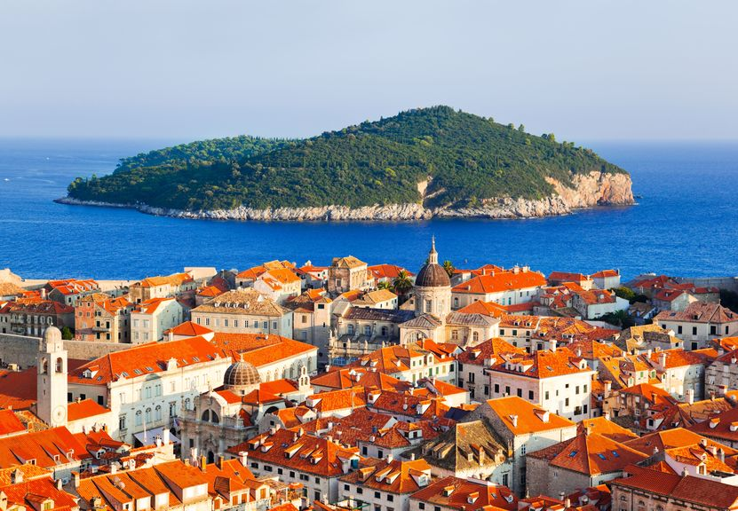 5468619 - town dubrovnik and island in croatia - abstact travel background