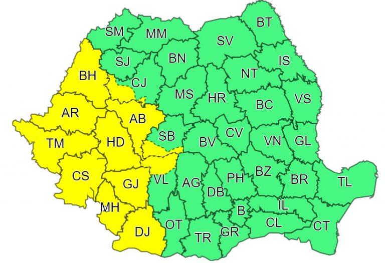 A fost emis Cod galben de ploi torențiale în vestul țării