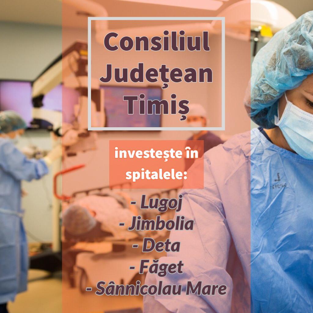 Spitalele din 5 oraşe timișene pot accesa fonduri de la Consiliul Județean