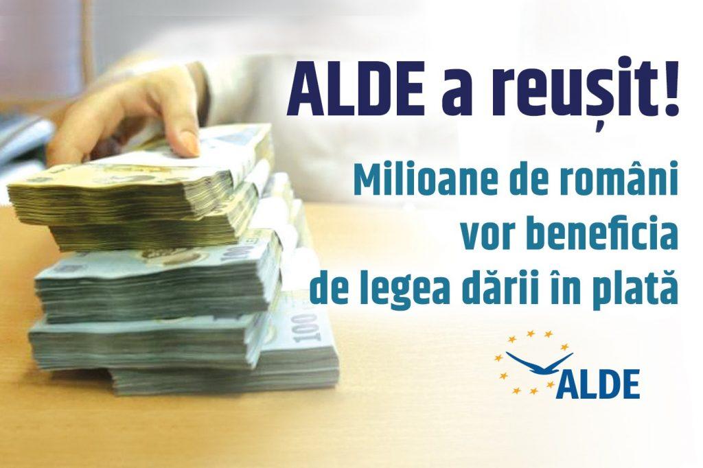 Legea ALDE privind darea în plată a fost votată astăzi! Milioane de români se vor bucura de beneficiile acestei legi!