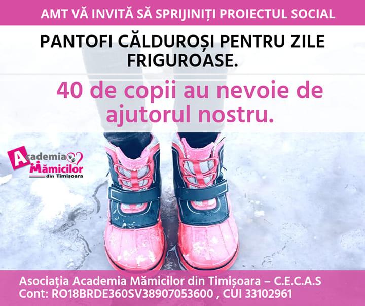Academia Mămicilor adună pantofi călduroși pentru copii nevoiaşi