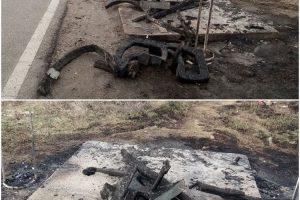 Parcare incendiată pe un drum din vestul ţării