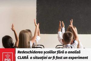 """PSD Timişoara: """"Redeschiderea școlilor fără o analiză clară a situației ar fi fost un experiment inacceptabil pe copiii noștri"""""""
