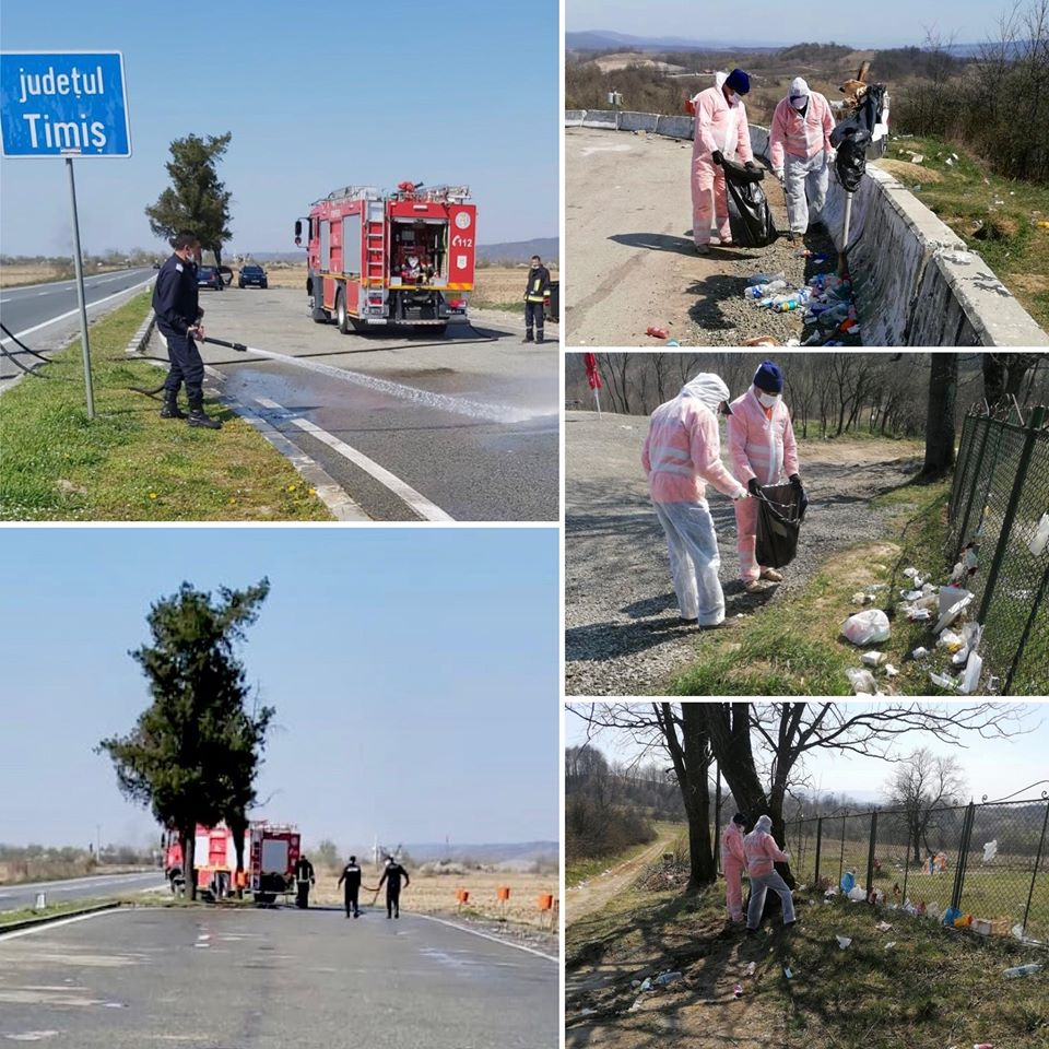 Angajaţii DRDP Timişoara fac curăţenie pe marginea drumurilor echipaţi în combinezoane