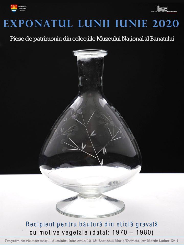 EXPONATUL LUNII IUNIE la MNB: Recipient pentru băutură, sticlă gravată cu motive vegetale