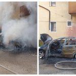 Autoturism făcut scrum, în urma acestuia au fost afectate geamurile de la 2 apartamente și izolația unui bloc