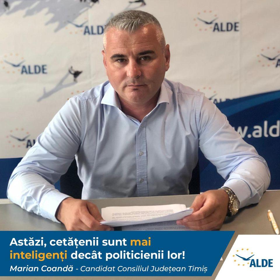 Marian Coandă, candidatul ALDE la funcția de consilier județean: Cetățenii, mai inteligenți decât politicienii lor, aleg proiecte cu oameni care le înfăptuiesc și nu doar nume cu partide în spate (P)