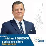 Scrisoarea lui Adrian Popescu, candidatul ALDE la Primăria Timișoara, pentru timişoreni (P)