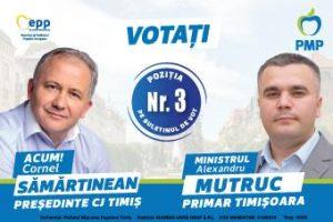 Echipa PMP Timiș – Cornel Sămărtinean la CJT și Alexandru Mutruc la Primăria Timișoara – singura alegere viabilă în 27 septembrie (P)