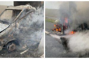 Autoutilitară în flăcări pe A1