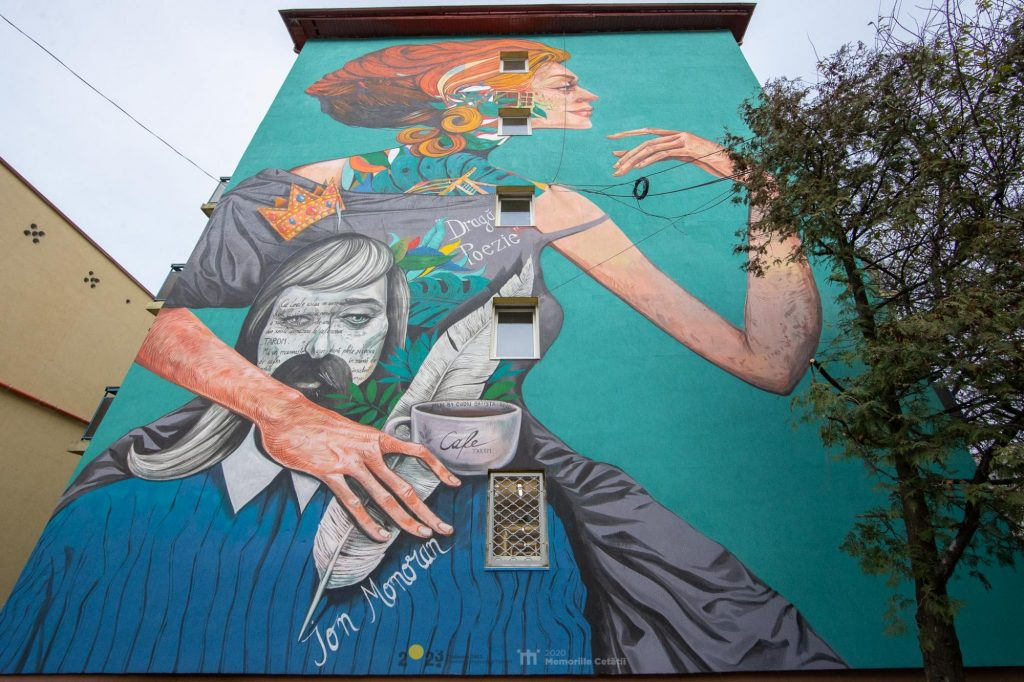 Memoriile Cetății 2020: Primul poem ilustrat din Timișoara, pe peretele unui cămin studențesc