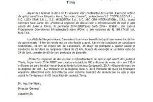 Fonduri europene atrase de Aquatim în trei localități din județul Timiș