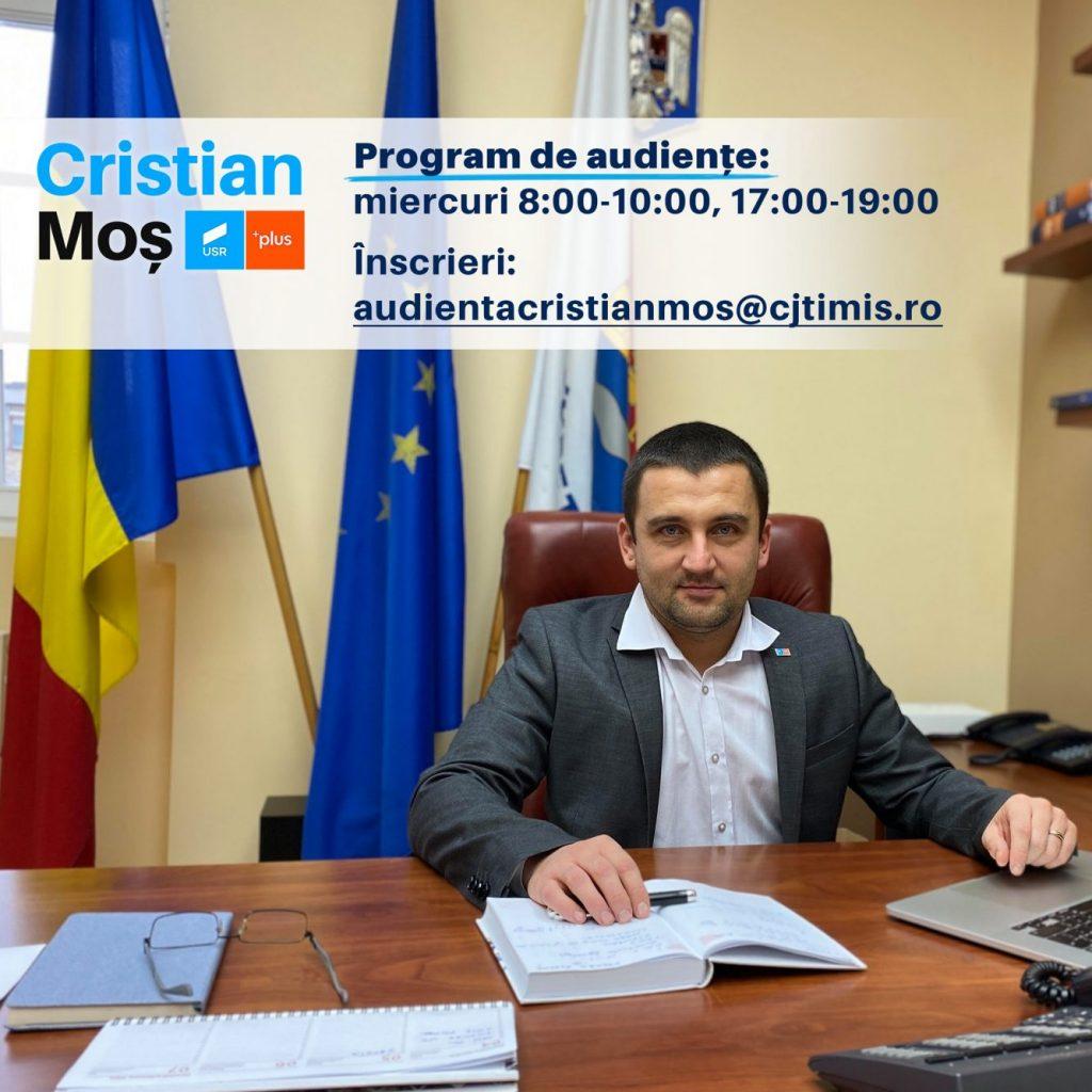 Când pot merge timișenii în audiență la vicepreședintele CJT, Cristian Moș